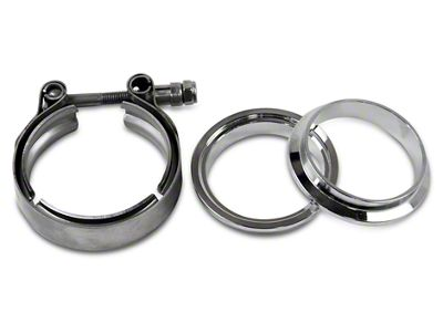 GMS 2.5 in. Mating Male to Female Interlocking Flange w/ V-Band Exhaust Clamp - Mild Steel (02-19 RAM 1500)