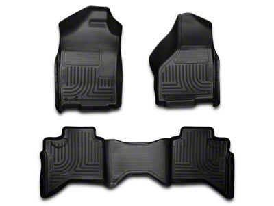 Husky WeatherBeater Front & 2nd Seat Floor Liners - Black (02-08 RAM 1500 Quad Cab)