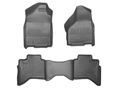 Husky WeatherBeater Front & 2nd Seat Floor Liners - Gray (02-08 RAM 1500 Quad Cab)