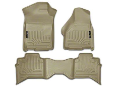 Husky WeatherBeater Front & 2nd Seat Floor Liners - Tan (09-18 RAM 1500 Quad Cab, Crew Cab)