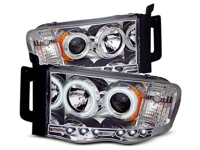 Axial Chrome Projector Headlights w/ CCFL Halos (02-05 RAM 1500)