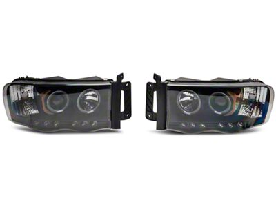 Axial Black Projector Headlights w/ LED Halos (02-05 RAM 1500)