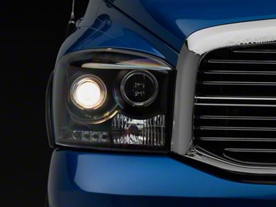 Axial Black Projector Headlights w/ LED Halos (06-08 RAM 1500)
