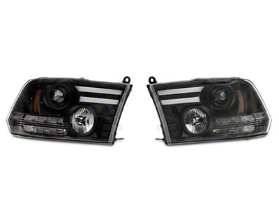 Axial Black Projector Headlights w/ Light Bar Daytime Running Lights (09-18 RAM 1500)