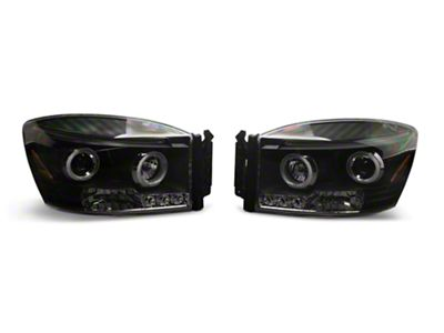 Axial Black Dual Halo Projector Headlights (06-08 RAM 1500)