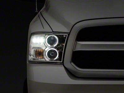 Axial Chrome Dual Halo Projector Headlights w/ LED Accent Lights (09-18 RAM 1500 w/o Projector Headlights)
