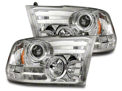 Clear / Chrome Projector Headlights w/ LED DRL & Amber LED Turn Signals (13-18 RAM 1500 w/ Projector Headlights)