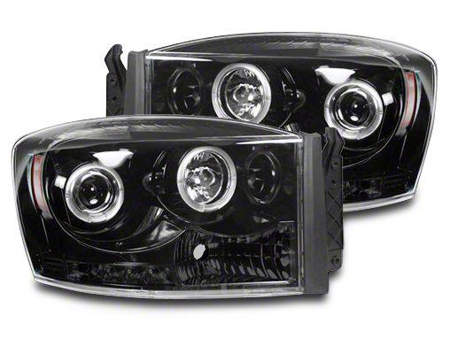 Recon Smoked / Black Projector Headlights w/ CCFL Halos & Daytime Running Lights (06-08 RAM 1500)