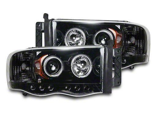 Recon Smoked / Black Projector Headlights w/ LED Halos & Daytime Running Lights (02-05 RAM 1500)