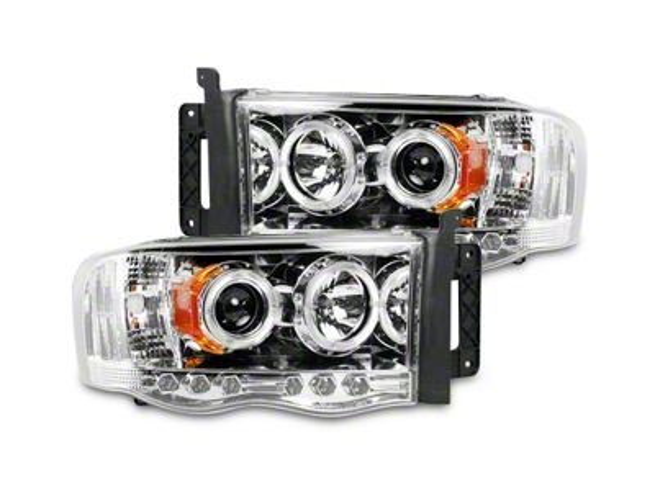 Clear / Chrome Projector Headlights w/ LED Halos & Daytime Running Lights (02-05 RAM 1500)