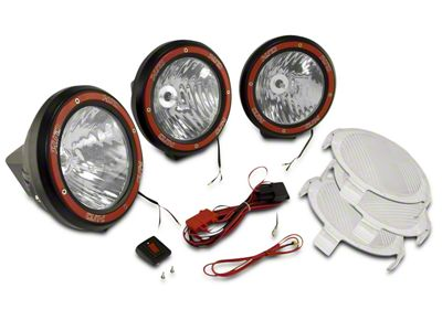 Rugged Ridge 5 in. Round HID Off-Road Fog Lights w/ Black Composite Housings - Set of Three