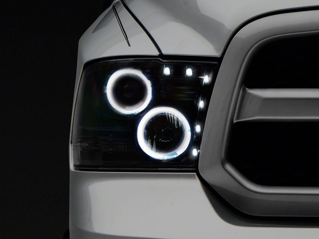 Recon Smoked / Black Projector Headlights w/ CCFL Halos & Daytime Running Lights (09-18 RAM 1500 w/o Projector Headlights)