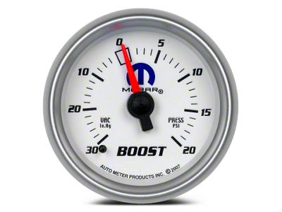 Mopar Boost/Vacuum Gauge - Mechanical - White (02-19 RAM 1500)