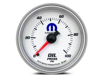 Mopar Oil Pressure Gauge - Mechanical - White (02-19 RAM 1500)
