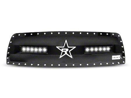 RBP RX-3 Midnight Edition Studded Frame Upper Grille Insert w/ LEDs - Black (13-18 RAM 1500, Excluding Rebel)