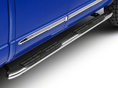 Barricade Pinnacle 4 in. Oval Bent End Side Step Bars - Stainless Steel (02-08 RAM 1500 Quad Cab)