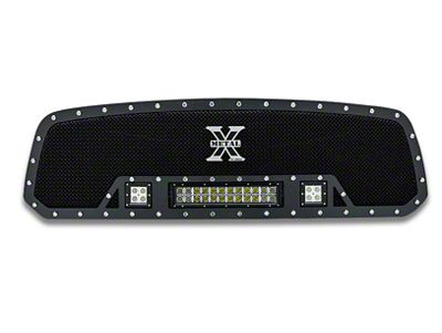 T-REX Torch Series Upper Grille Insert w/ Two 3 in. LED Cubes & 12 in. LED Light Bar - Black (13-18 RAM 1500, Excluding Rebel & Sport)