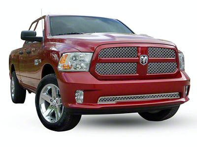 E&G Diamond Dual Weave Mesh Upper Grille Insert - Chrome (13-18 RAM 1500, Excluding Rebel)
