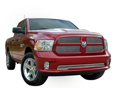 E&G Diamond Dual Weave Mesh Upper & Lower Grille Inserts - Chrome (13-18 RAM 1500, Excluding Express, Rebel & Sport)