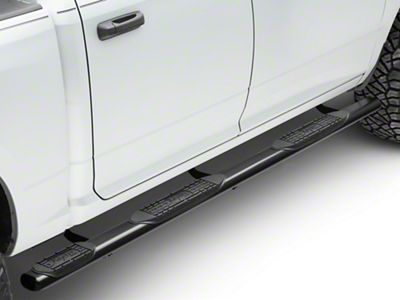 Raptor Series 4 in. Oval Wheel to Wheel Side Step Bars - Black (09-18 RAM 1500 Quad Cab, Crew Cab)