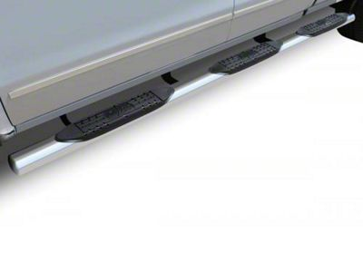 Raptor Series 4 in. Oval Wheel to Wheel Side Step Bars - Polished Stainless (02-08 RAM 1500 Quad Cab w/ 6.4 ft. Box)