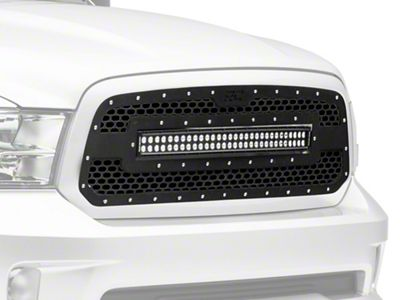 Rough Country Mesh Upper Replacement Grille w/ 30 in. LED Light Bar - Black (13-18 RAM 1500, Excluding Rebel)