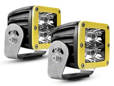 Rigid Industries D-Series HD Amber LED Cube Lights w/ Yellow Surround - Spot Beam - Pair