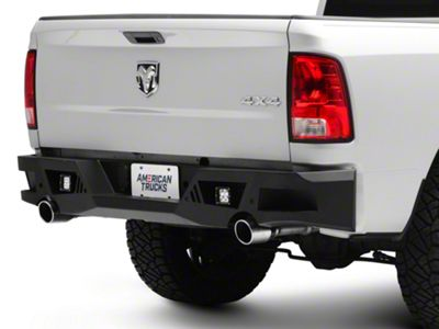 Black Horse Off Road Armour Rear HD Bumper w/ Light Kit (13-18 RAM 1500)