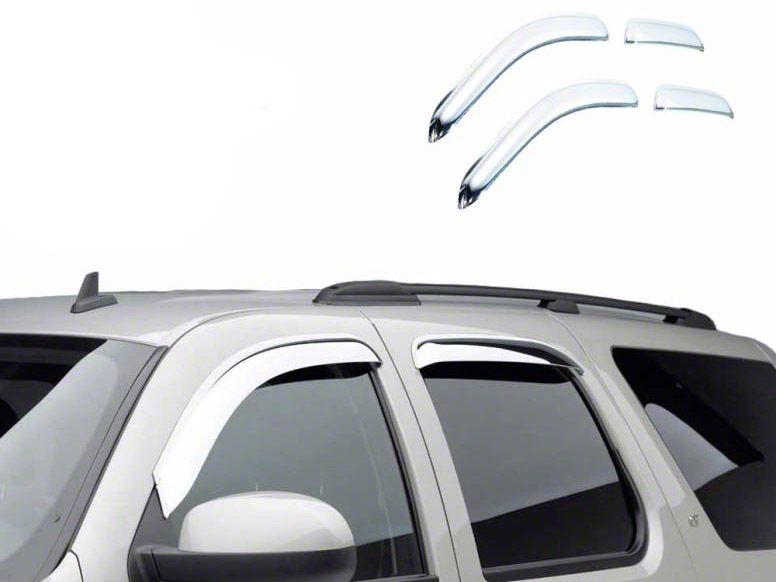 Black Horse Off Road Chrome Rain Guards - Front & Rear (02-08 RAM 1500 Quad Cab)