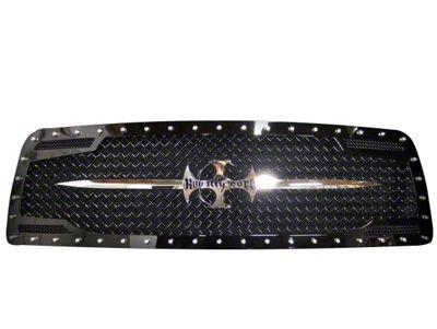 Royalty Core RC2 Twin Mesh Upper Replacement Grille w/ Chrome Swords - Black (09-12 RAM 1500)