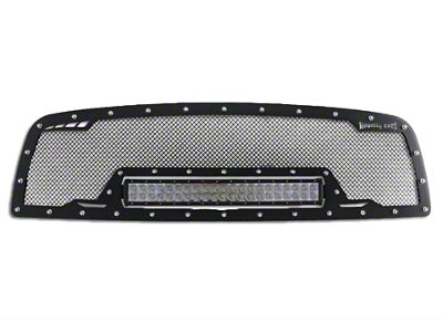 Royalty Core RCRX Race Line Upper Replacement Grille w/ 23 in. LED Light Bar - Satin Black (13-18 RAM 1500, Excluding Rebel)