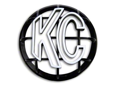 KC HiLiTES 5 in. Round Stone Guard for Apollo Series - Black w/ White KC Logo