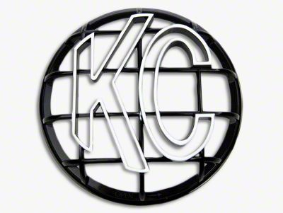 KC HiLiTES 6 in. Round Stone Guard for Apollo Series - Black w/ White KC Logo
