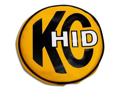 KC HiLiTES 8 in. Soft Vinyl Cover for Round Lights - Yellow w/ KC HID Logo