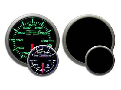Prosport Dual Color Premium Oil Temperature Gauge - Green/White (02-19 RAM 1500)
