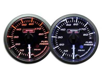 Prosport Dual Color Premium White Pointer Fuel Pressure Gauge - Amber/White (02-19 RAM 1500)