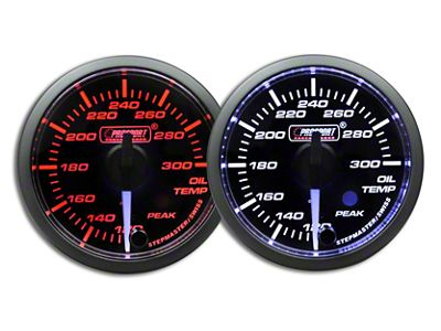 Prosport Dual Color Premium White Pointer Oil Temperature Gauge - Amber/White (02-19 RAM 1500)