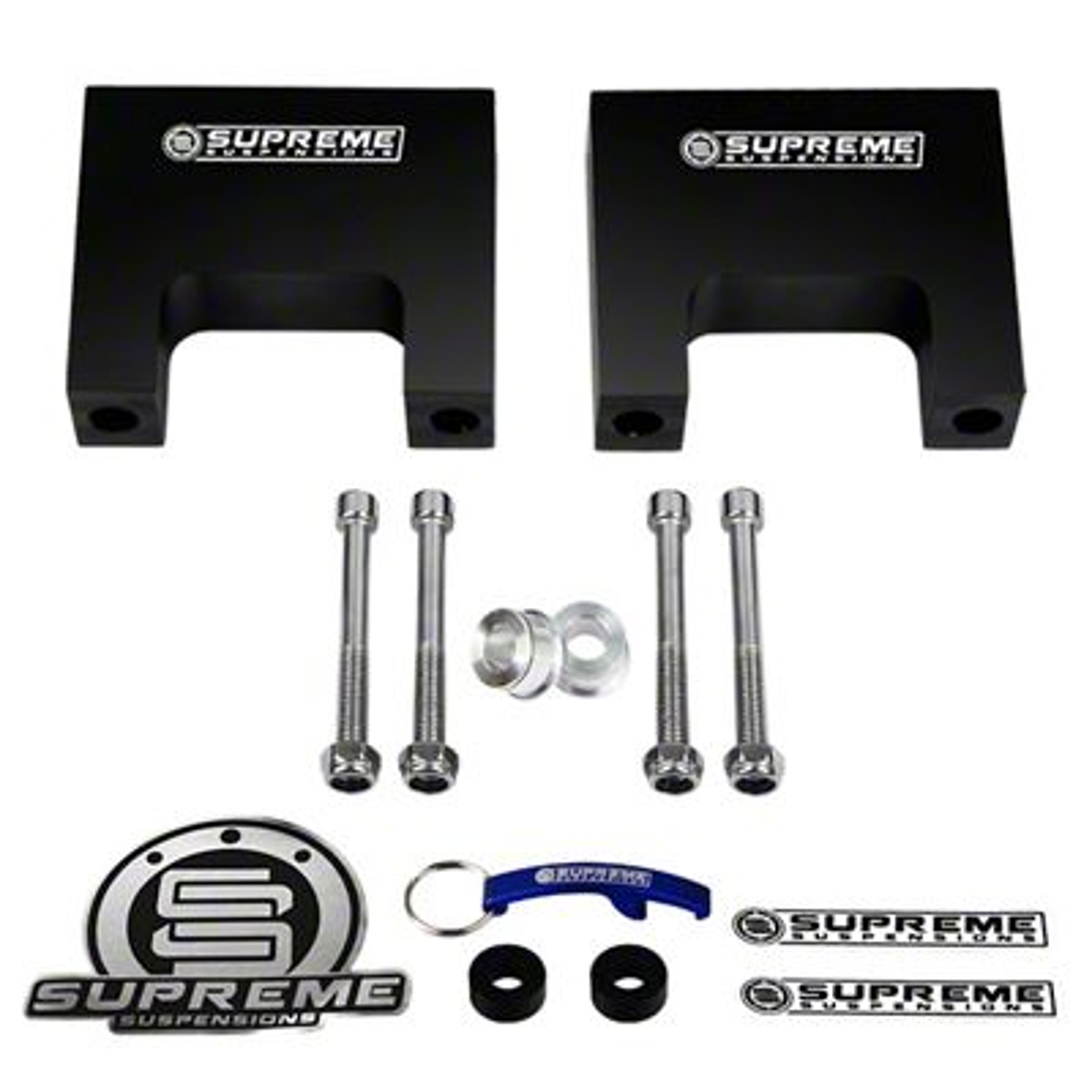 Supreme Suspensions 3 in. Pro Billet Front Shock Lift Spacers (02-08 2WD RAM 1500, Excluding Mega Cab)