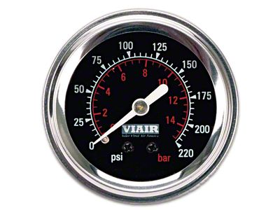 Viair Single Needle Air Pressure Gauge - Black Face