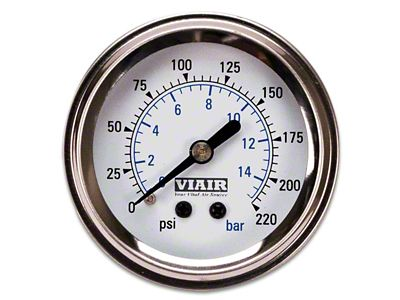 Viair Single Needle Air Pressure Gauge - White Face