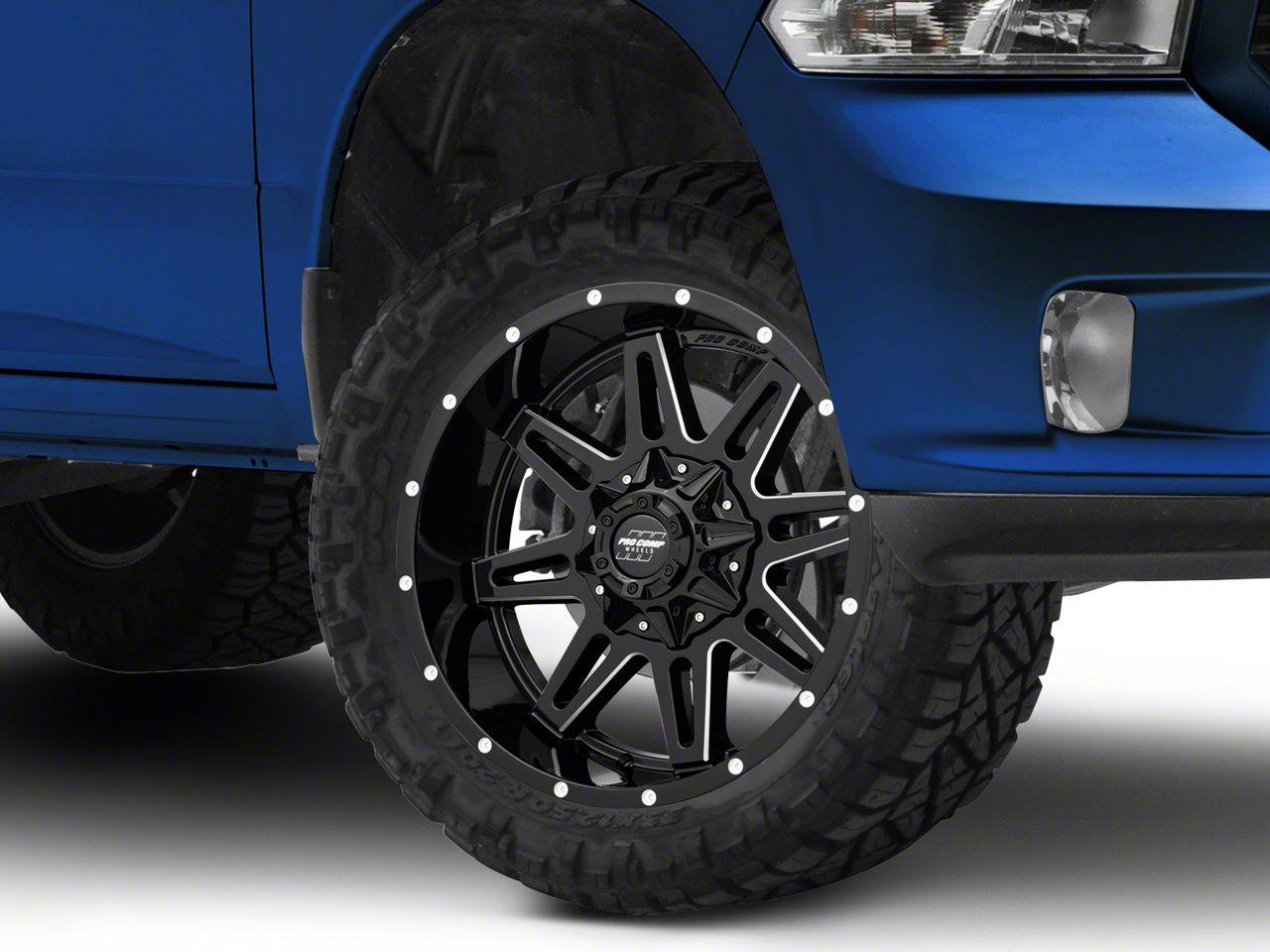 Pro Comp Blockade Gloss Black Milled 5-Lug Wheel - 20x9.5 (02-18 RAM 1500, Excluding Mega Cab)