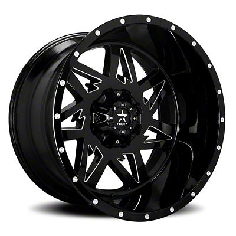 RBP 71R Avenger Gloss Black w/ Machined Grooves 5-Lug Wheel - 24x14 (02-18 RAM 1500, Excluding Mega Cab)