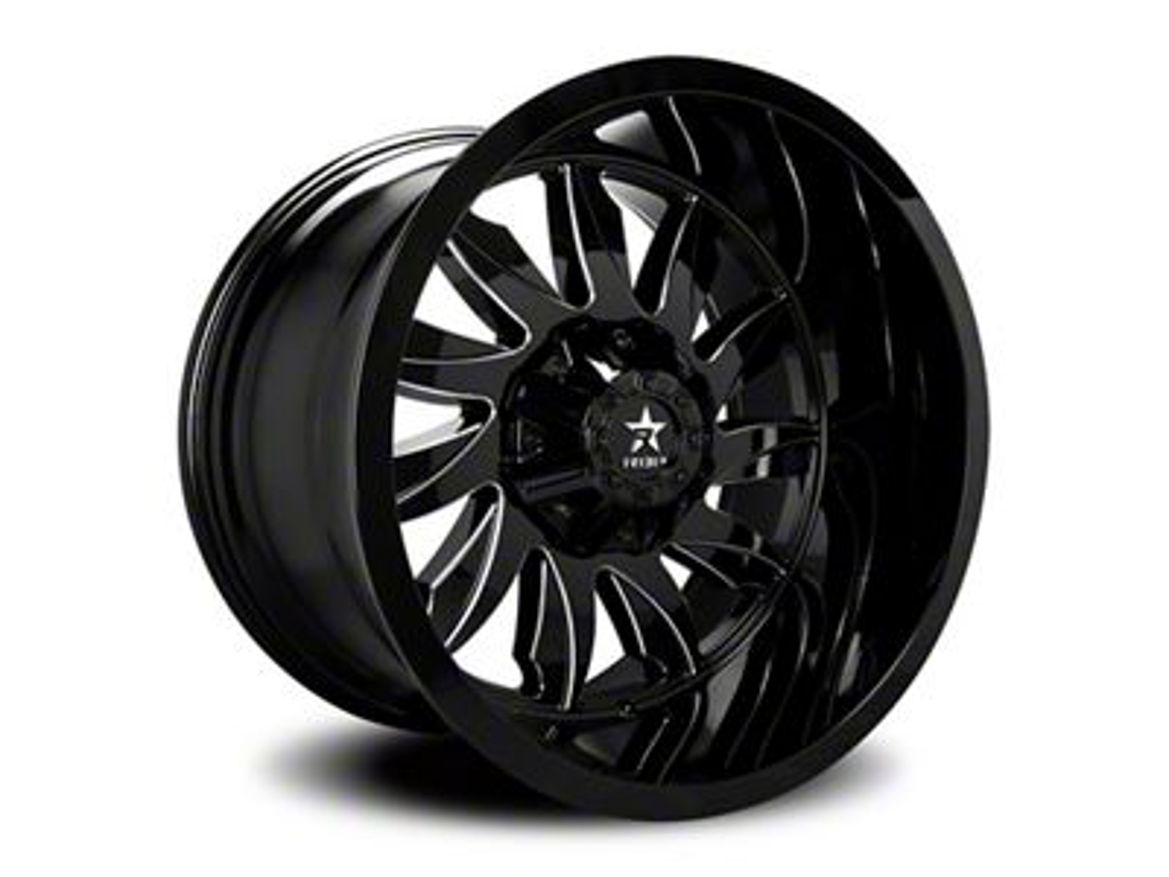 RBP 74R Silencer Gloss Black w/ Machined Grooves 5-Lug Wheel - 22x12 (02-18 RAM 1500, Excluding Mega Cab)