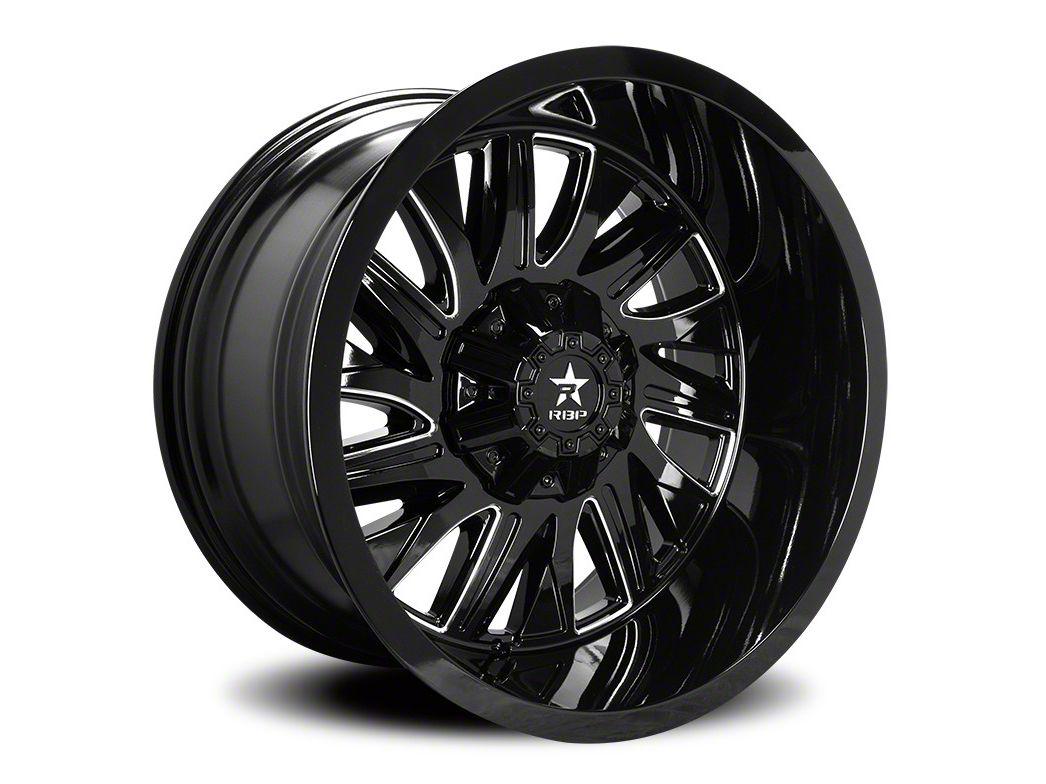 RBP 75R Batallion Gloss Black w/ Machined Grooves 5-Lug Wheel - 20x9 (02-18 RAM 1500, Excluding Mega Cab)