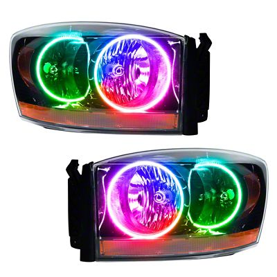 Oracle Black OE Style LED Halo Headlights - ColorSHIFT (2006 RAM 1500)