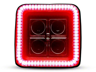 Oracle 3 in. Off-Road Series Square LED Light w/ Red Halo - Spot Beam
