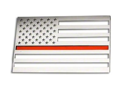 Stainless Steel American Flag Emblem - Polished w/ Thin Red Line (02-19 RAM 1500)