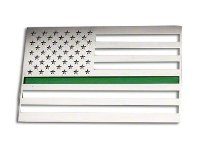 Stainless Steel American Flag Emblem - Polished w/ Thin Green Line (02-19 RAM 1500)