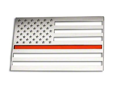 Stainless Steel American Flag Emblem - Brushed w/ Thin Red Line (02-19 RAM 1500)
