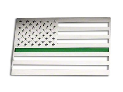 Stainless Steel American Flag Emblem - Brushed w/ Thin Green Line (02-19 RAM 1500)
